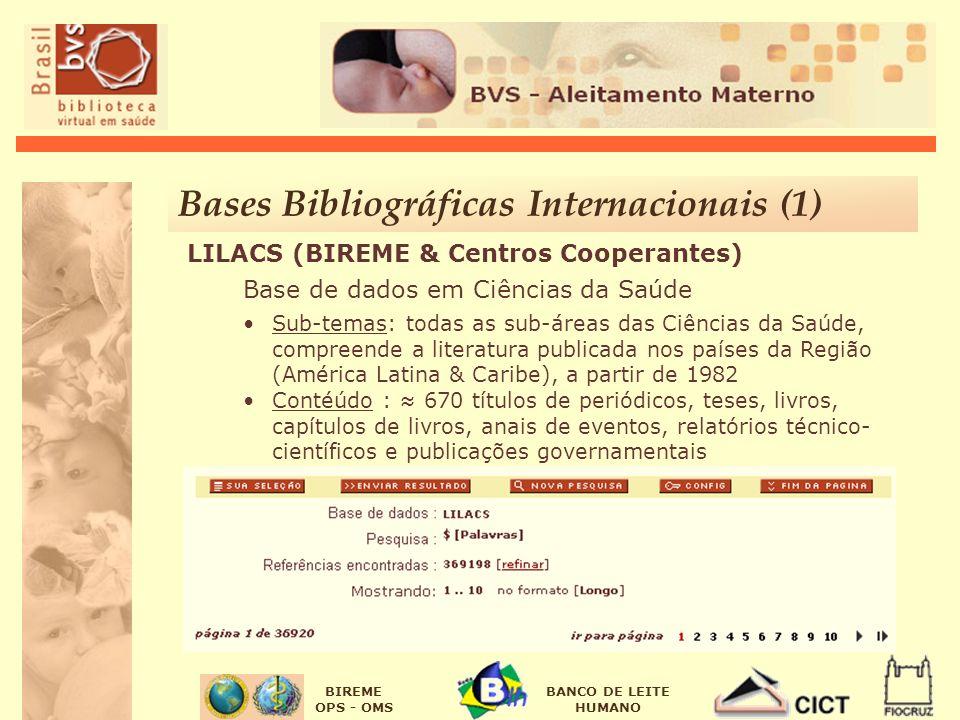 BIREME OPS - OMS BANCO DE LEITE HUMANO LILACS (BIREME & Centros Cooperantes) Base de dados em Ciências da Saúde Sub-temas: todas as sub-áreas das Ciên