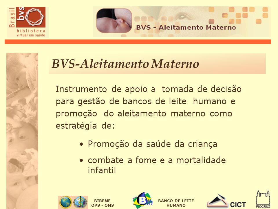 BIREME OPS - OMS BANCO DE LEITE HUMANO BVS-Aleitamento Materno Instrumento de apoio a tomada de decisão para gestão de bancos de leite humano e promoção do aleitamento materno como estratégia de: Promoção da saúde da criança combate a fome e a mortalidade infantil