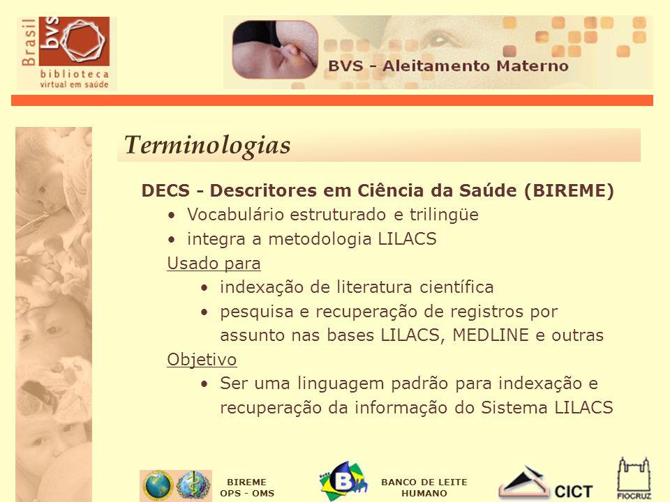 BIREME OPS - OMS BANCO DE LEITE HUMANO DECS - Descritores em Ciência da Saúde (BIREME) Vocabulário estruturado e trilingüe integra a metodologia LILAC