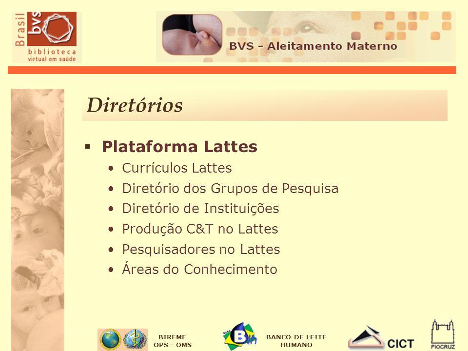 BIREME OPS - OMS BANCO DE LEITE HUMANO Diretórios Plataforma Lattes Currículos Lattes Diretório dos Grupos de Pesquisa Diretório de Instituições Produção C&T no Lattes Pesquisadores no Lattes Áreas do Conhecimento