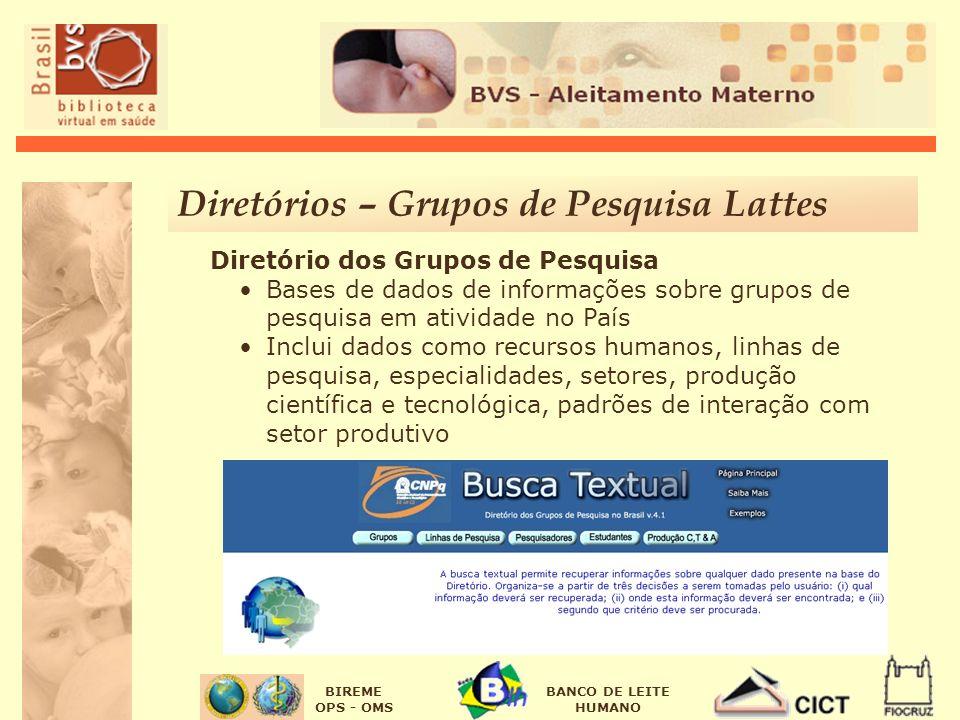 BIREME OPS - OMS BANCO DE LEITE HUMANO Diretório dos Grupos de Pesquisa Bases de dados de informações sobre grupos de pesquisa em atividade no País In
