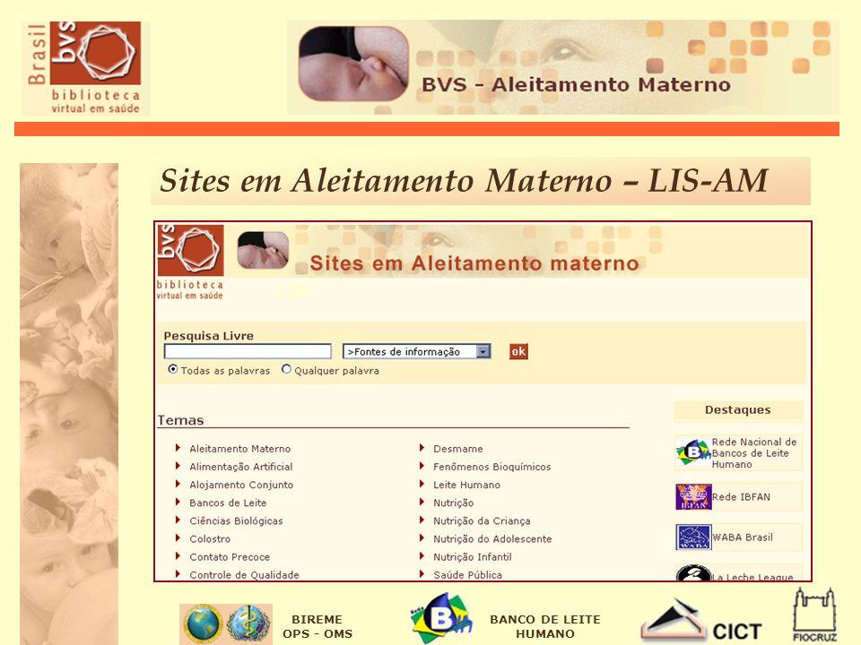 BIREME OPS - OMS BANCO DE LEITE HUMANO Sites em Aleitamento Materno – LIS-AM