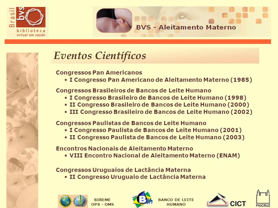 BIREME OPS - OMS BANCO DE LEITE HUMANO Eventos Científicos Congressos Pan Americanos I Congresso Pan Americano de Aleitamento Materno (1985) Congresso