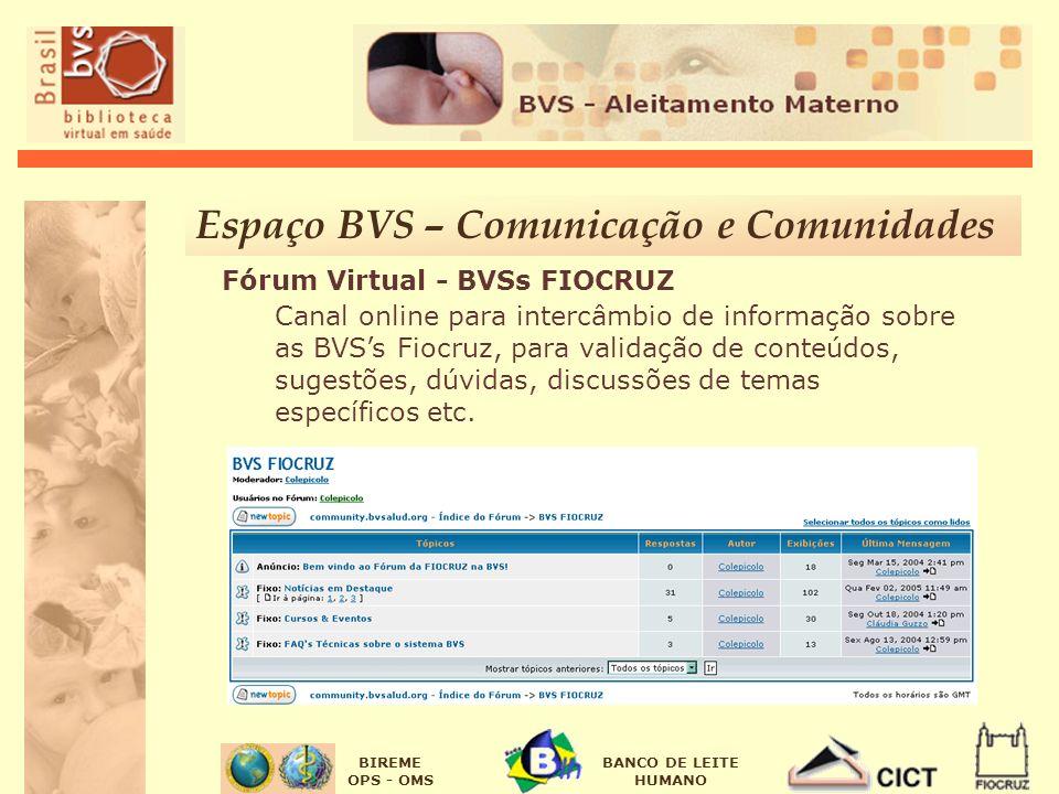 BIREME OPS - OMS BANCO DE LEITE HUMANO Espaço BVS – Comunicação e Comunidades Fórum Virtual - BVSs FIOCRUZ Canal online para intercâmbio de informação
