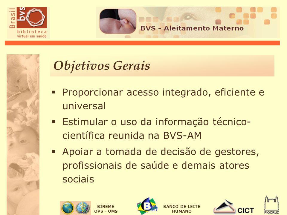 BIREME OPS - OMS BANCO DE LEITE HUMANO Objetivos Gerais Proporcionar acesso integrado, eficiente e universal Estimular o uso da informação técnico- ci