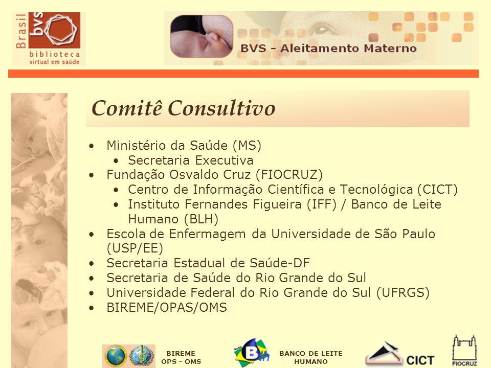 BIREME OPS - OMS BANCO DE LEITE HUMANO Comitê Consultivo Ministério da Saúde (MS) Secretaria Executiva Fundação Osvaldo Cruz (FIOCRUZ) Centro de Infor