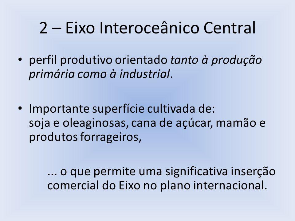 2 – Eixo Interoceânico Central perfil produtivo orientado tanto à produção primária como à industrial. Importante superfície cultivada de: soja e olea