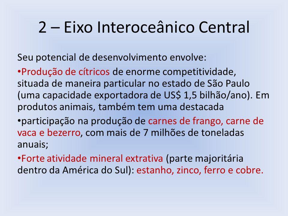 2 – Eixo Interoceânico Central Seu potencial de desenvolvimento envolve: Produção de cítricos de enorme competitividade, situada de maneira particular
