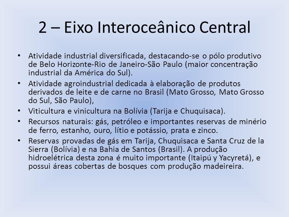 2 – Eixo Interoceânico Central Atividade industrial diversificada, destacando-se o pólo produtivo de Belo Horizonte-Rio de Janeiro-São Paulo (maior co