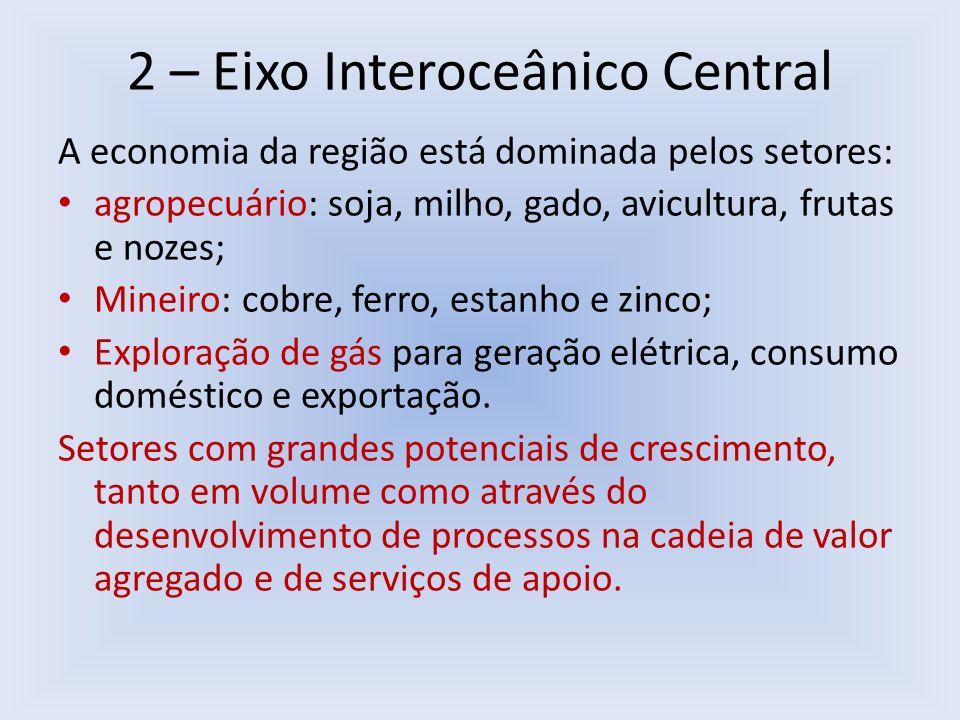 2 – Eixo Interoceânico Central A economia da região está dominada pelos setores: agropecuário: soja, milho, gado, avicultura, frutas e nozes; Mineiro: