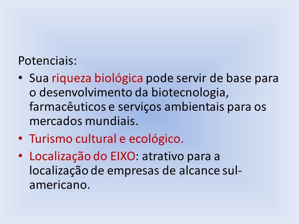 Potenciais: Sua riqueza biológica pode servir de base para o desenvolvimento da biotecnologia, farmacêuticos e serviços ambientais para os mercados mu