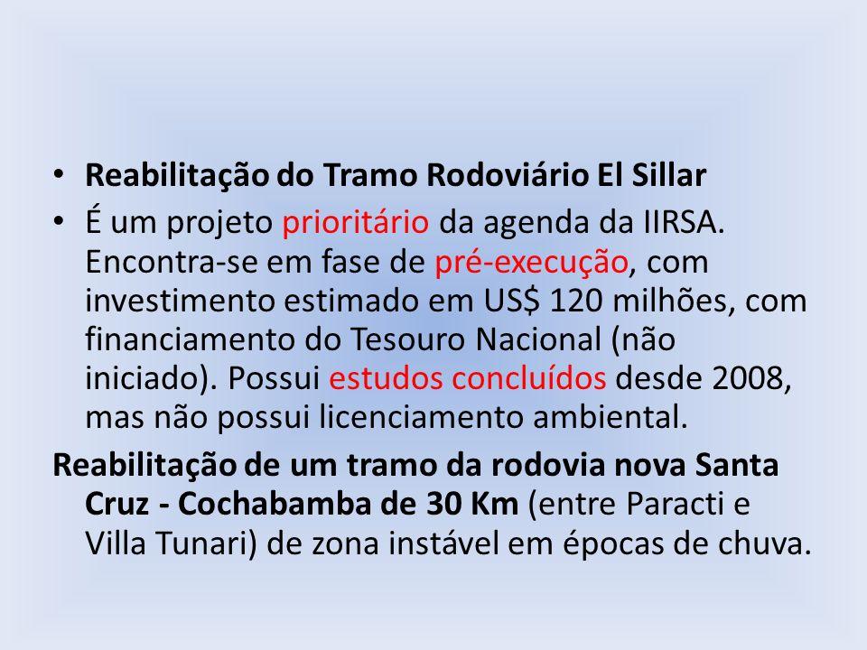 Reabilitação do Tramo Rodoviário El Sillar É um projeto prioritário da agenda da IIRSA. Encontra-se em fase de pré-execução, com investimento estimado
