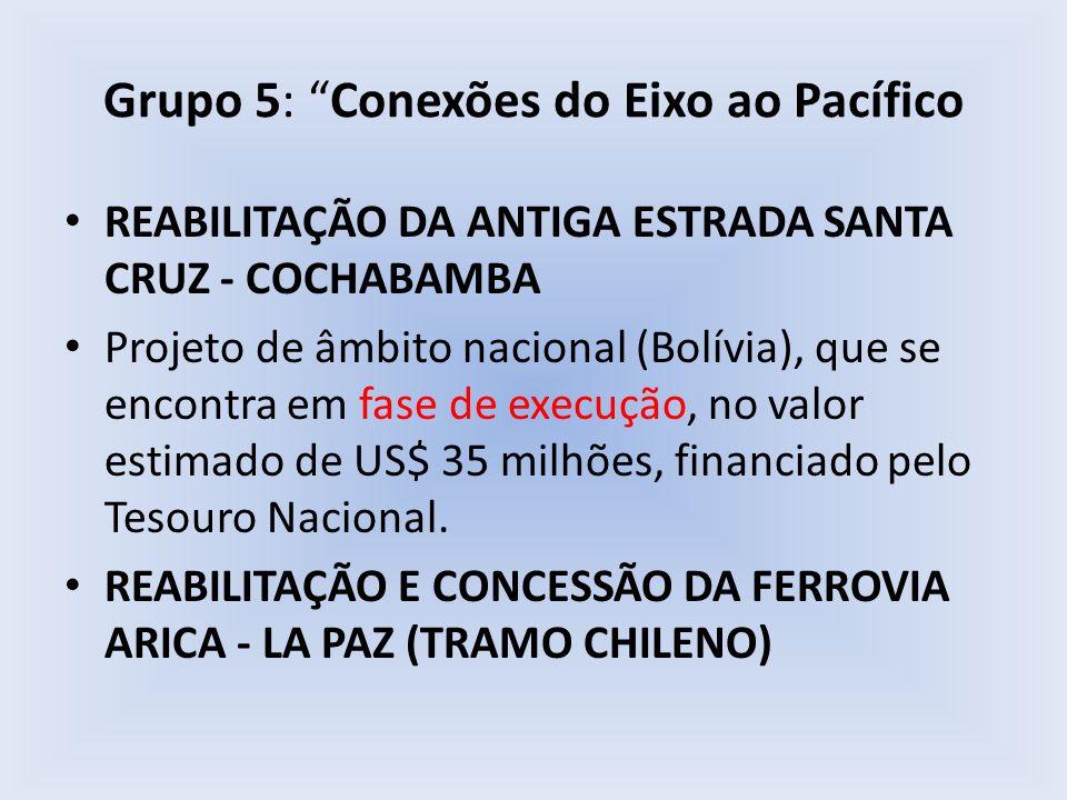Grupo 5: Conexões do Eixo ao Pacífico REABILITAÇÃO DA ANTIGA ESTRADA SANTA CRUZ - COCHABAMBA Projeto de âmbito nacional (Bolívia), que se encontra em