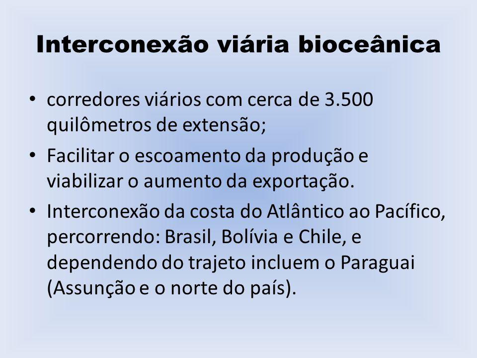2 – Eixo Interoceânico Central Atividade industrial diversificada, destacando-se o pólo produtivo de Belo Horizonte-Rio de Janeiro-São Paulo (maior concentração industrial da América do Sul).