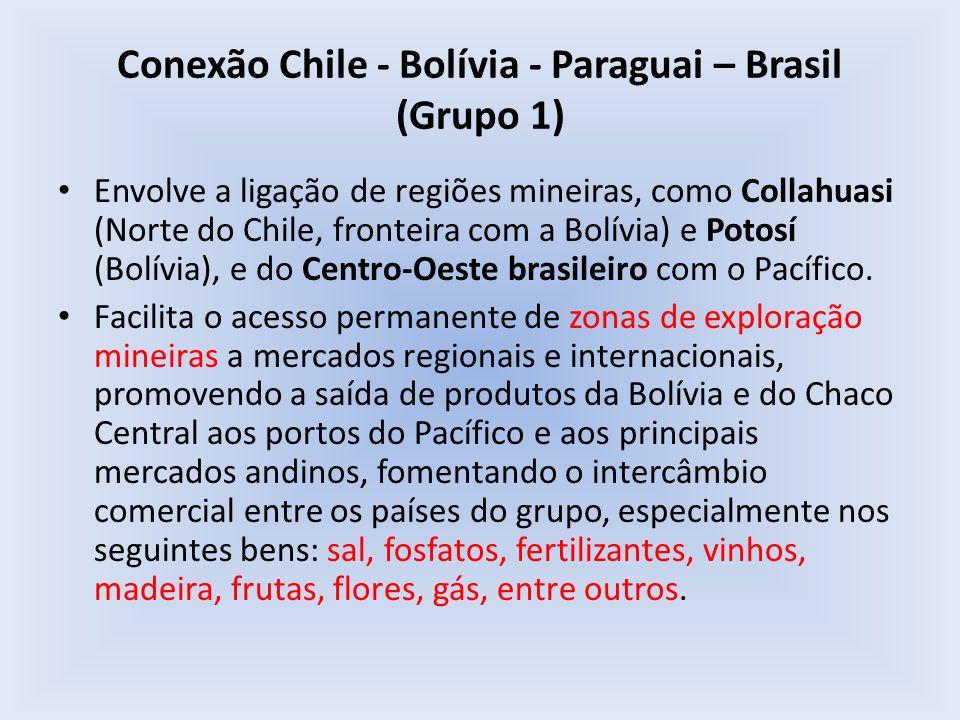 Conexão Chile - Bolívia - Paraguai – Brasil (Grupo 1) Envolve a ligação de regiões mineiras, como Collahuasi (Norte do Chile, fronteira com a Bolívia)