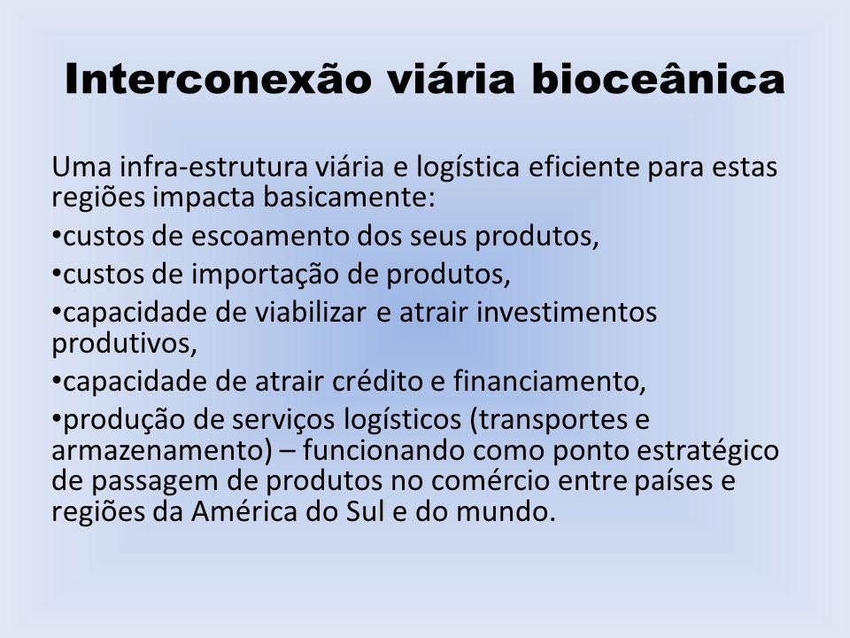 Interconexão viária bioceânica Uma infra-estrutura viária e logística eficiente para estas regiões impacta basicamente: custos de escoamento dos seus