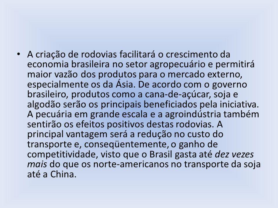 A criação de rodovias facilitará o crescimento da economia brasileira no setor agropecuário e permitirá maior vazão dos produtos para o mercado extern