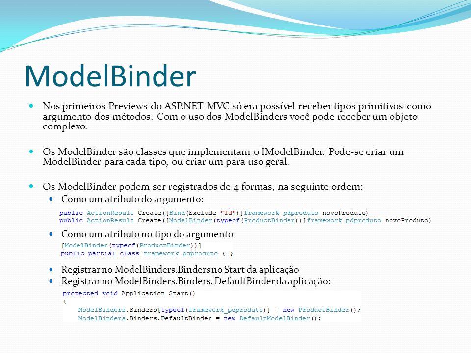 ModelBinder Nos primeiros Previews do ASP.NET MVC só era possível receber tipos primitivos como argumento dos métodos. Com o uso dos ModelBinders você