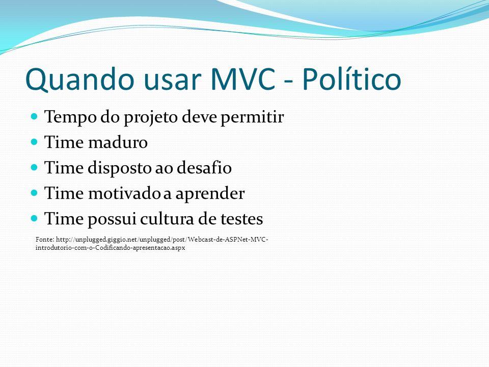Quando usar MVC - Político Tempo do projeto deve permitir Time maduro Time disposto ao desafio Time motivado a aprender Time possui cultura de testes Fonte: http://unplugged.giggio.net/unplugged/post/Webcast-de-ASPNet-MVC- introdutorio-com-o-Codificando-apresentacao.aspx