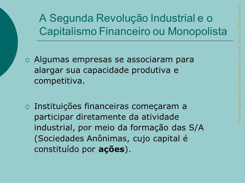A Segunda Revolução Industrial e o Capitalismo Financeiro ou Monopolista Algumas empresas se associaram para alargar sua capacidade produtiva e compet