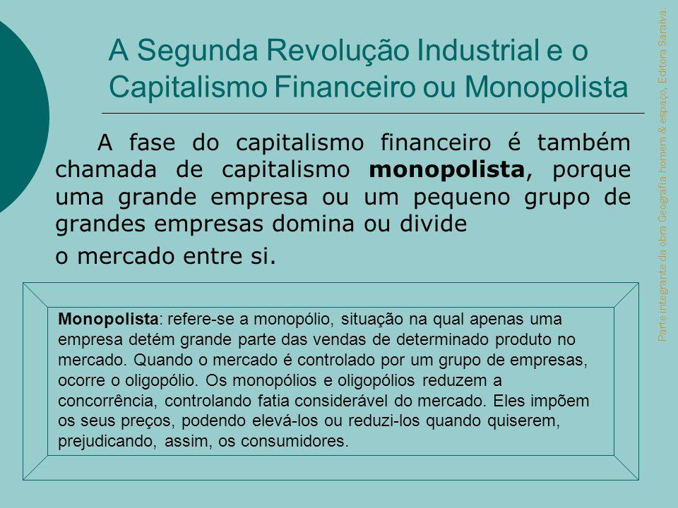 A Segunda Revolução Industrial e o Capitalismo Financeiro ou Monopolista A fase do capitalismo financeiro é também chamada de capitalismo monopolista,