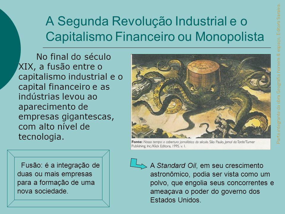 A Segunda Revolução Industrial e o Capitalismo Financeiro ou Monopolista No final do século XIX, a fusão entre o capitalismo industrial e o capital fi