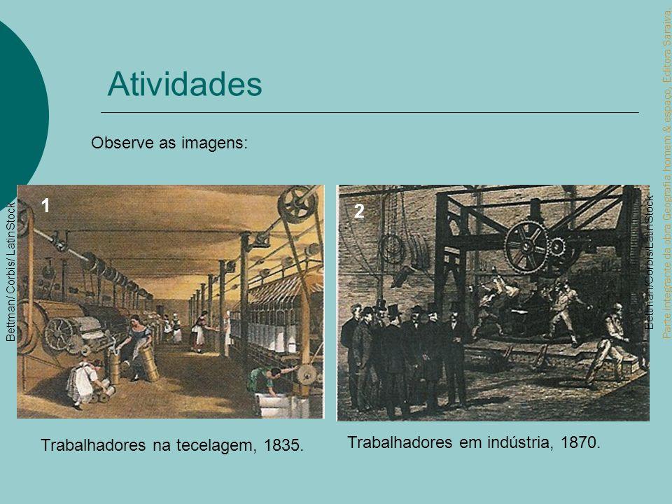 Parte integrante da obra Geografia homem & espaço, Editora Saraiva. Atividades Trabalhadores na tecelagem, 1835. Trabalhadores em indústria, 1870. Bet
