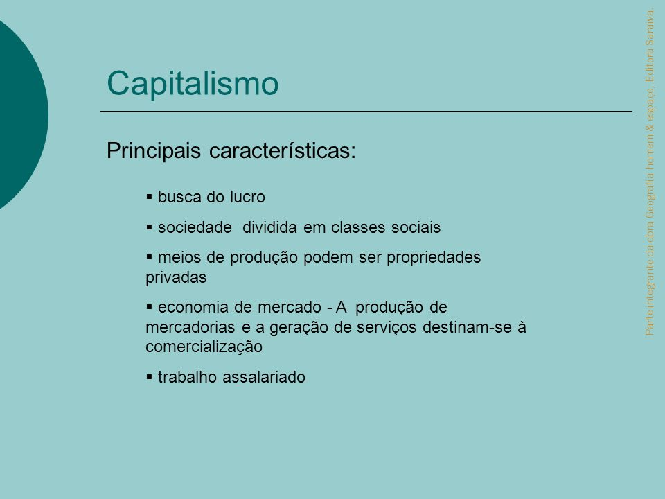 Capitalismo Parte integrante da obra Geografia homem & espaço, Editora Saraiva. busca do lucro sociedade dividida em classes sociais meios de produção