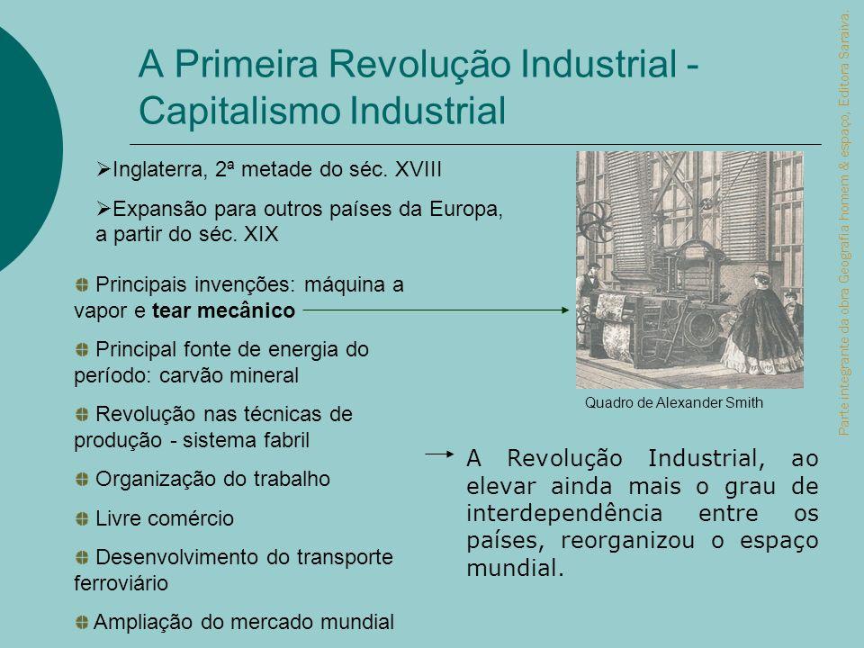 A Primeira Revolução Industrial - Capitalismo Industrial A Revolução Industrial, ao elevar ainda mais o grau de interdependência entre os países, reor