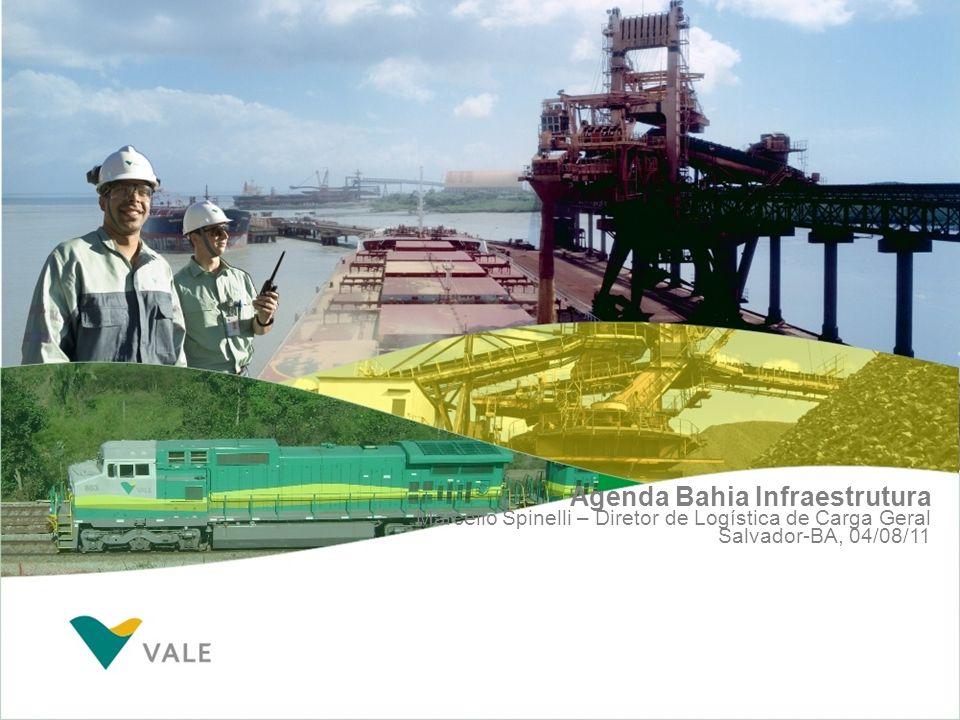 Na Bahia, uma agenda positiva público-privada deve buscar esse modelo integrado Mil toneladas Portos (1) Restrição de acesso ferroviário (TPC, Salvador, Ilhéus) (2) Limitações de capacidade e integração ferroviária (Aratu) Ferrovias (3) Interferências urbanas na malha do Recôncavo Baiano >> Investimentos (DNIT): R$ 370 milhões (4) Criticidade ambiental para produtos perigosos Crise mundial FCA – Movimentação na Bahia