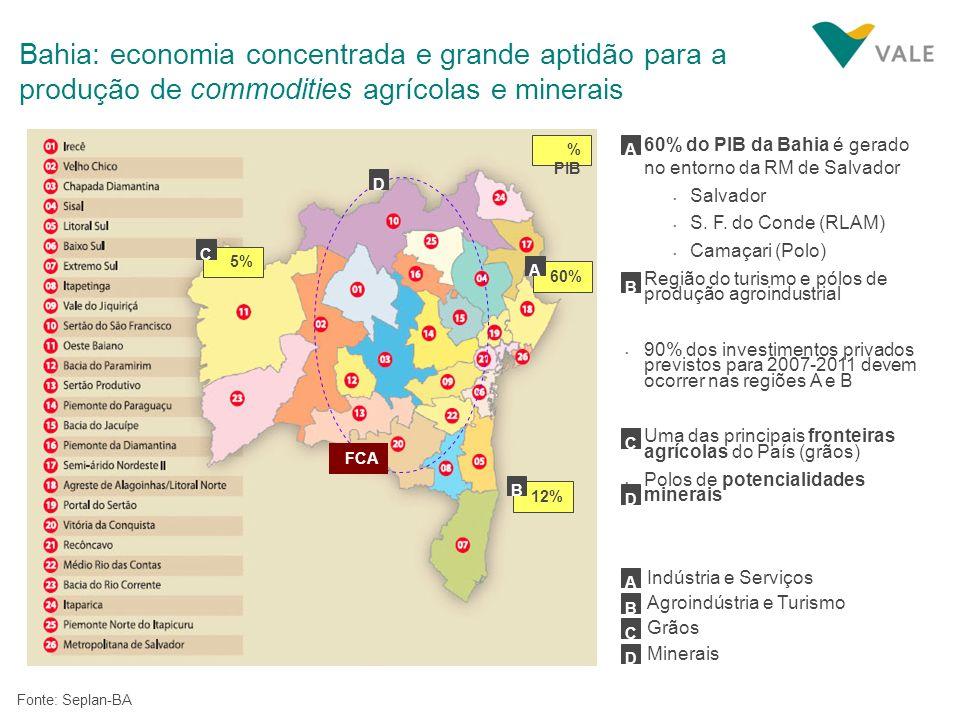 Fonte: Seplan-BA A Indústria e Serviços D B Agroindústria e Turismo C Grãos 60% do PIB da Bahia é gerado no entorno da RM de Salvador Salvador S. F. d