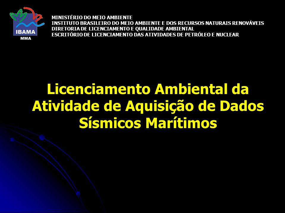 Licenciamento Ambiental da Atividade de Aquisição de Dados Sísmicos Marítimos MINISTÉRIO DO MEIO AMBIENTE INSTITUTO BRASILEIRO DO MEIO AMBIENTE E DOS