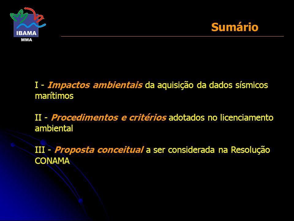 Sumário I - Impactos ambientais da aquisição da dados sísmicos marítimos II - Procedimentos e critérios adotados no licenciamento ambiental III - Prop