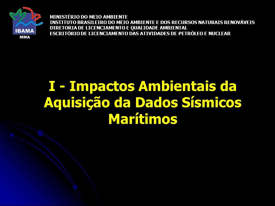 Cetáceos Impactos potenciais Danos a tecidos e órgãos Espaços aéreos internos Danos vestibulares (sonares) Próximo a fonte sísmica (< 5m) Interferências na comunicação (mascaramento) Potencial de mascaramento dos sons de baixas freqüências Misticetos maior sensibilidade às interferências Alterações na vocalização Distância (3 - 30 km)