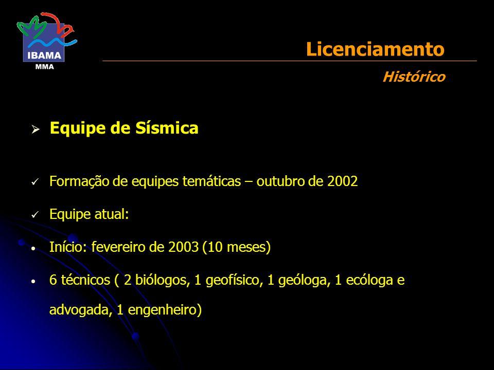 Equipe de Sísmica Formação de equipes temáticas – outubro de 2002 Equipe atual: Início: fevereiro de 2003 (10 meses) 6 técnicos ( 2 biólogos, 1 geofís