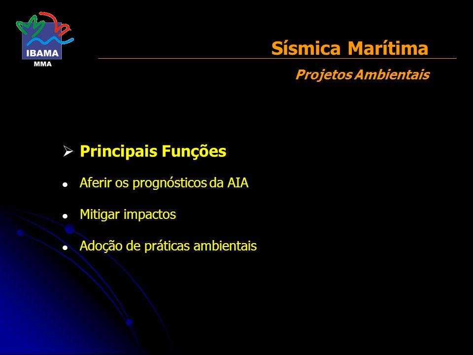 Principais Funções Aferir os prognósticos da AIA Mitigar impactos Adoção de práticas ambientais Sísmica Marítima Projetos Ambientais