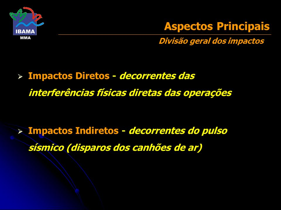Impactos Diretos - decorrentes das interferências físicas diretas das operações Impactos Indiretos - decorrentes do pulso sísmico (disparos dos canhõe