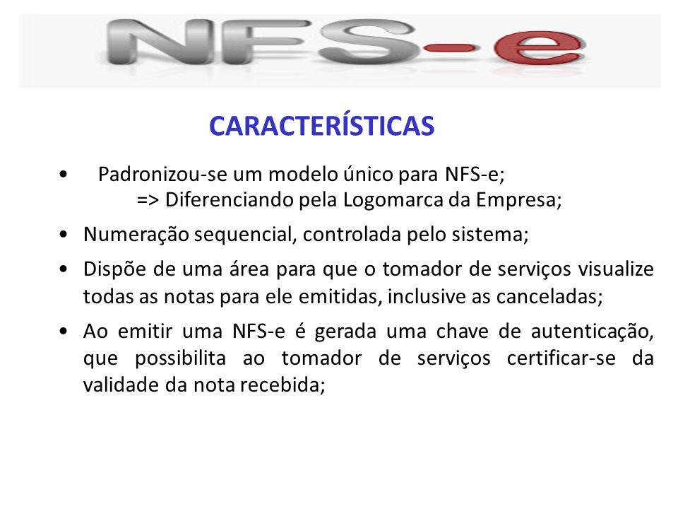 Padronizou-se um modelo único para NFS-e; => Diferenciando pela Logomarca da Empresa; Numeração sequencial, controlada pelo sistema; Dispõe de uma áre