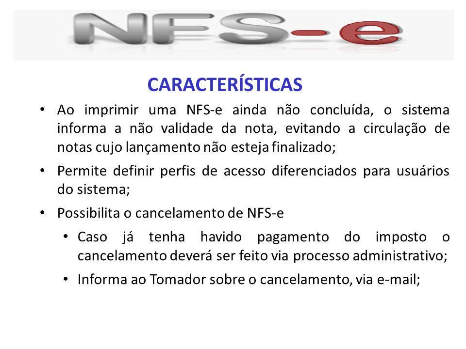 Ao imprimir uma NFS-e ainda não concluída, o sistema informa a não validade da nota, evitando a circulação de notas cujo lançamento não esteja finaliz