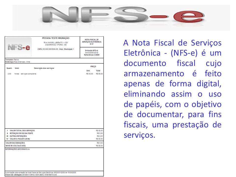 A Nota Fiscal de Serviços Eletrônica - (NFS-e) é um documento fiscal cujo armazenamento é feito apenas de forma digital, eliminando assim o uso de pap