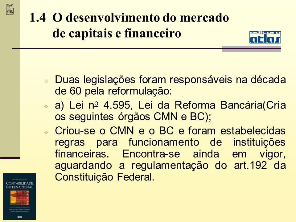 1.4 O desenvolvimento do mercado de capitais e financeiro Duas legislações foram responsáveis na década de 60 pela reformulação: a) Lei n o 4.595, Lei