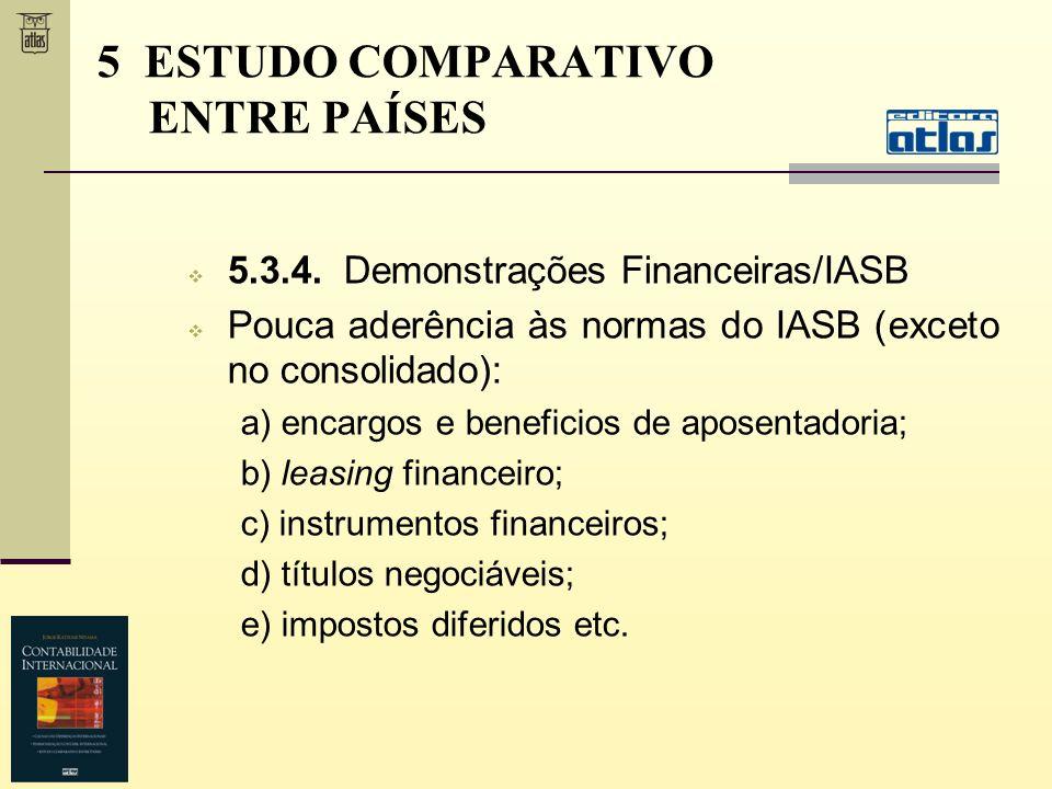 5.3.4. Demonstrações Financeiras/IASB Pouca aderência às normas do IASB (exceto no consolidado): a) encargos e beneficios de aposentadoria; b) leasing