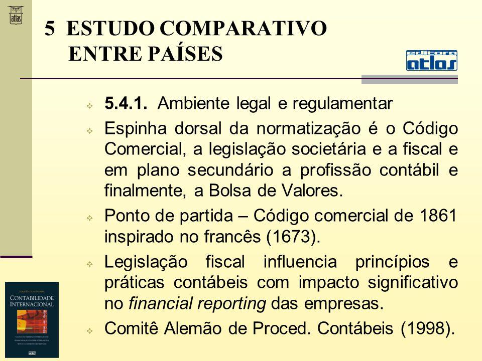 5.4.1. Ambiente legal e regulamentar Espinha dorsal da normatização é o Código Comercial, a legislação societária e a fiscal e em plano secundário a p