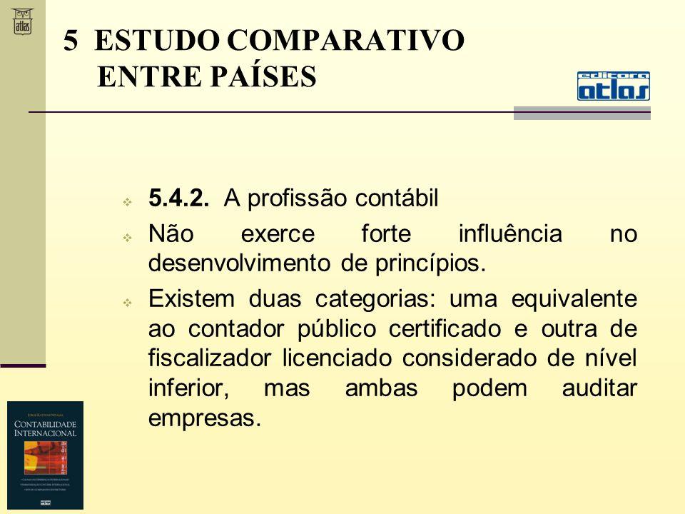 5.4.2. A profissão contábil Não exerce forte influência no desenvolvimento de princípios. Existem duas categorias: uma equivalente ao contador público