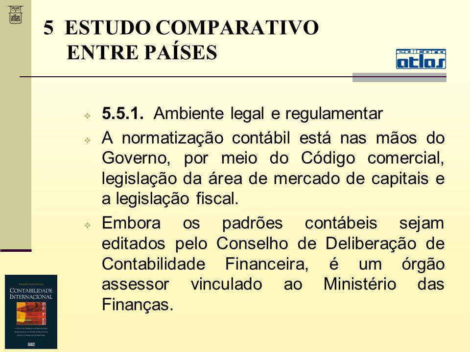 5.5.1. Ambiente legal e regulamentar A normatização contábil está nas mãos do Governo, por meio do Código comercial, legislação da área de mercado de