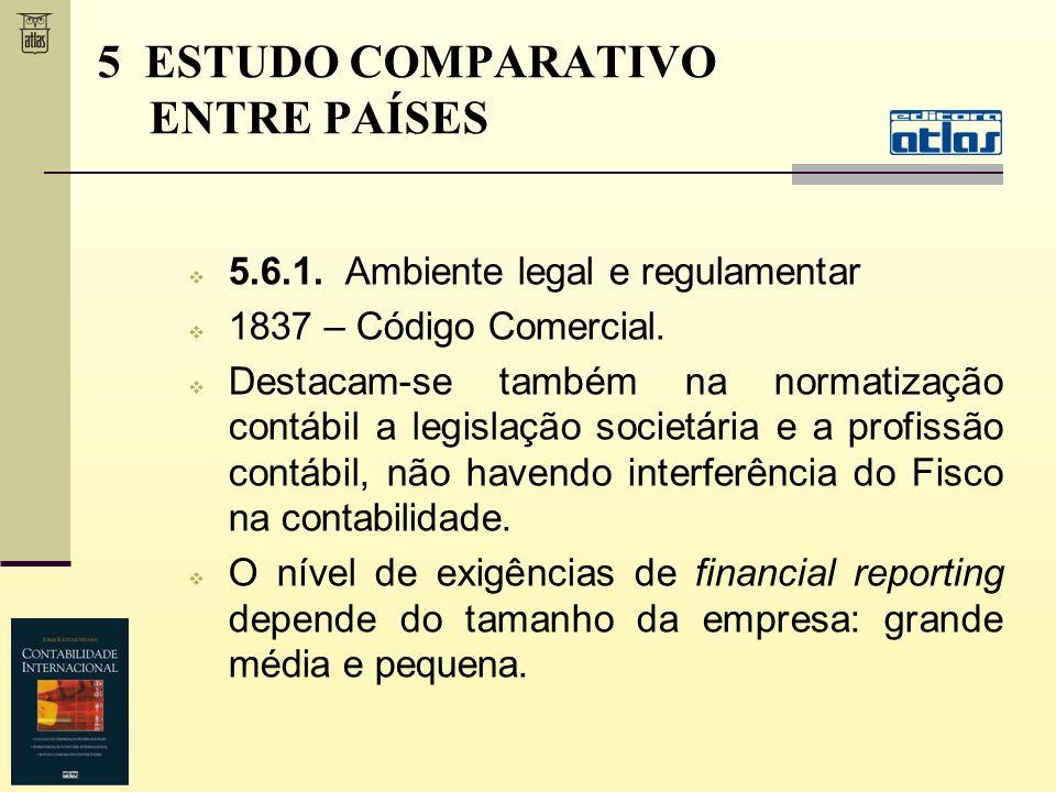 5.6.1. Ambiente legal e regulamentar 1837 – Código Comercial. Destacam-se também na normatização contábil a legislação societária e a profissão contáb