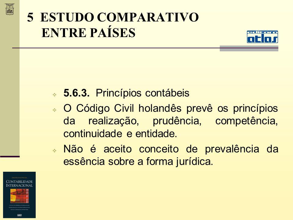 5.6.3. Princípios contábeis O Código Civil holandês prevê os princípios da realização, prudência, competência, continuidade e entidade. Não é aceito c