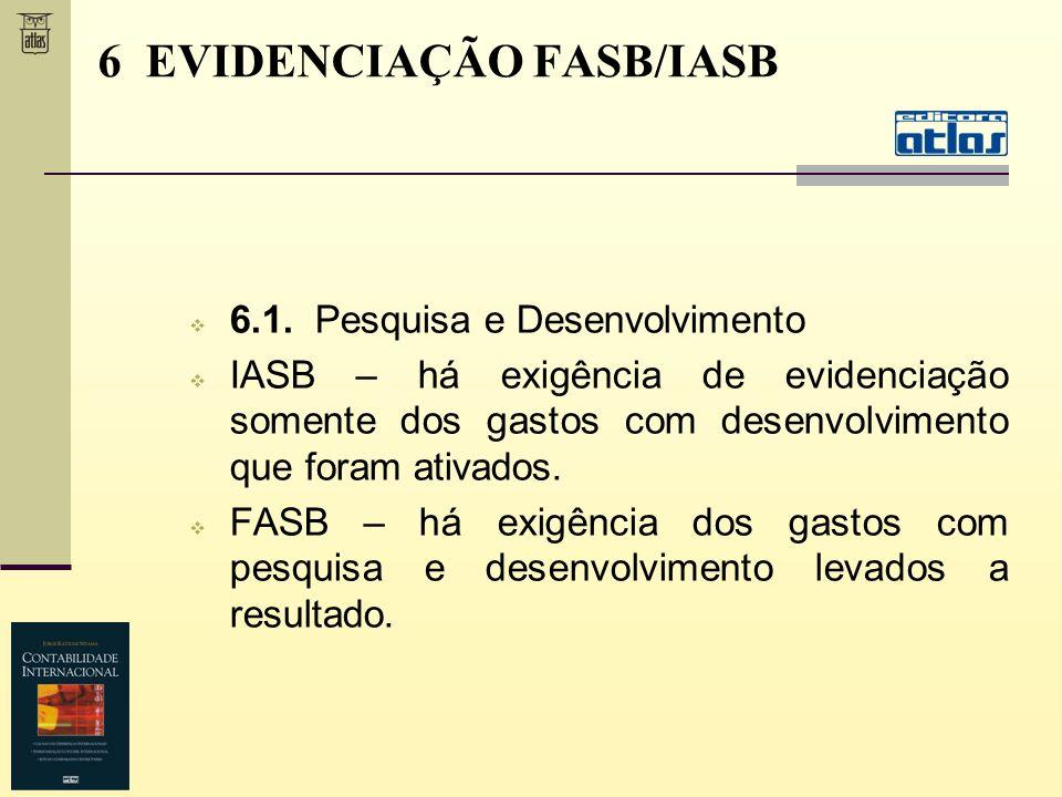 6.1. Pesquisa e Desenvolvimento IASB – há exigência de evidenciação somente dos gastos com desenvolvimento que foram ativados. FASB – há exigência dos