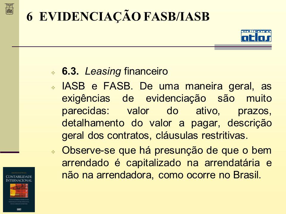 6.3. Leasing financeiro IASB e FASB. De uma maneira geral, as exigências de evidenciação são muito parecidas: valor do ativo, prazos, detalhamento do