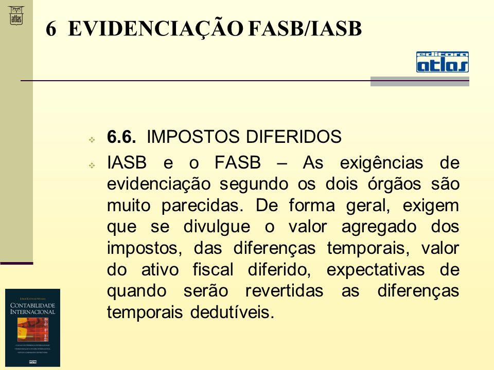 6.6. IMPOSTOS DIFERIDOS IASB e o FASB – As exigências de evidenciação segundo os dois órgãos são muito parecidas. De forma geral, exigem que se divulg